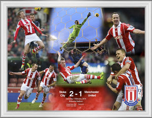 Framed celebration montage of win against Man Utd